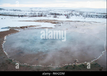 ICELAND: Geysir is a famous hot spring in the geothermal area of Haukadalur Valley, found in south-west Iceland. Though Geysir itself is rarely active - Stock Photo