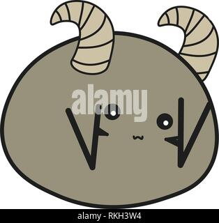 Bunny is the zodiac sign of Pisces in a cartoon style. Vector illustration on white background. - Stock Photo
