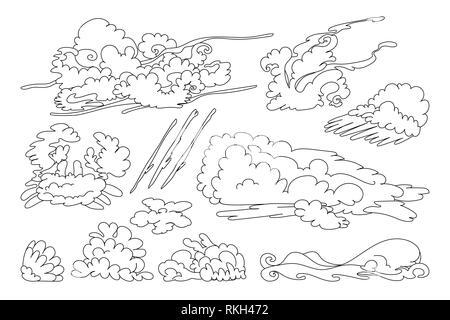 vector animal shaped cloud. Black white linear set - Stock Photo