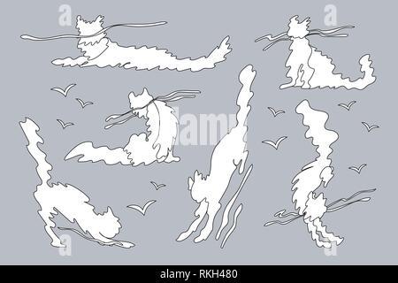 vector animal shaped cloud. Cartoon linear set - Stock Photo