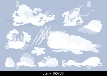 vector animal shaped cloud. Flat pastel set - Stock Photo