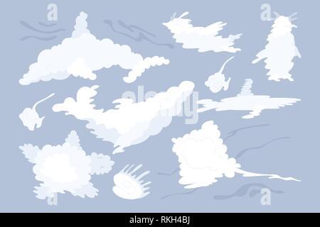 vector animal shaped cloud. Flat pastel set - Stock Photo