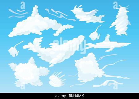 vector animal shaped cloud. Cartoon cloudy sky set - Stock Photo