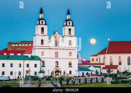 Moonrise over Cathedral Of Holy Spirit In Minsk. Famous and Main Orthodox Church Of Belarus in Minsk. - Stock Photo