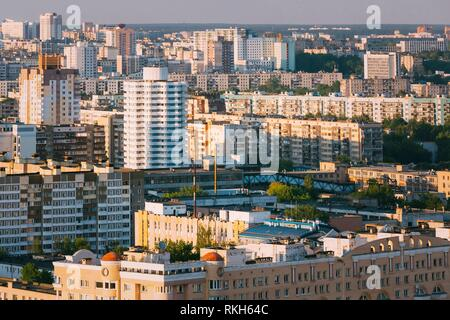 Aerial urban view, cityscape of Minsk, Belarus. - Stock Photo