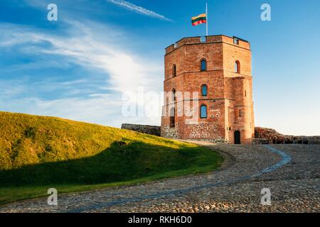 Tower Of Gediminas (Gedimino) In Vilnius, Lithuania. Historic Symbol Of The City Of Vilnius And Of Lithuania Itself. Upper Vilnius Castle Complex. - Stock Photo