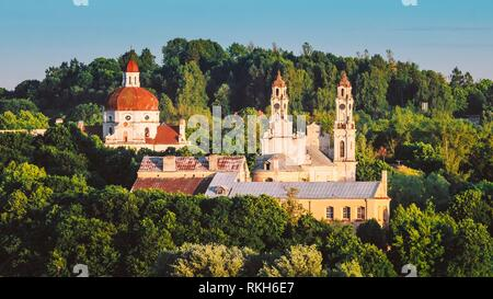 Sunset Sunrise Cityscape Of Vilnius, Lithuania In Summer. Beautiful Panoramic View Of Old Town In Evening. Roofs of medieval churches. - Stock Photo