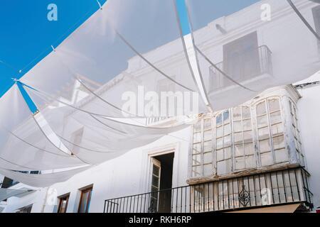 Old Architecture In Narrow Streets In Nerja, Spain. White Balcony. - Stock Photo