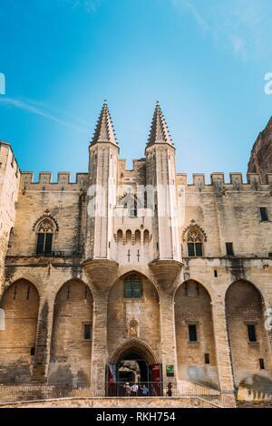 Ancient Popes Palace, Saint-Benezet, Avignon, Provence, France. Famous landmark. - Stock Photo
