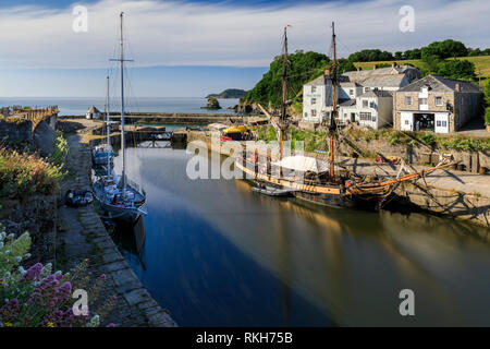Charlestown Harbour in Cornwall. - Stock Photo