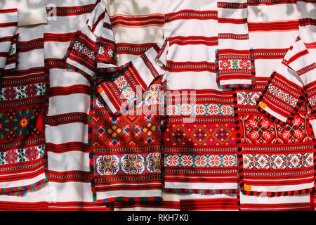 Belorussian ethnic national folks ornament on clothes. Slavic Traditional Pattern Ornament Embroidery. Culture of Belarus. - Stock Photo