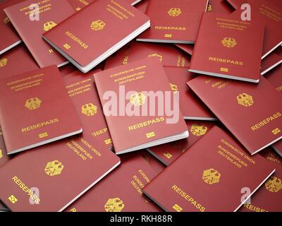 Germany passport background. Immigration or travel concept. Pile of german passports. 3d illustration. - Stock Photo