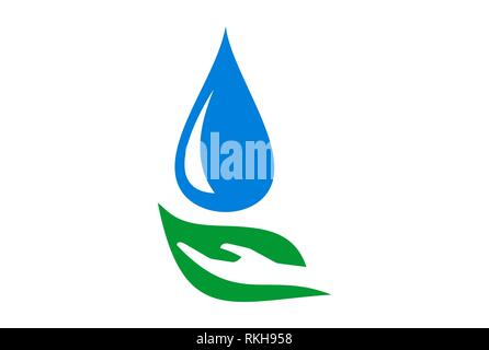 abstract leaf hand water nature logo icon vector concept flat design - Stock Photo