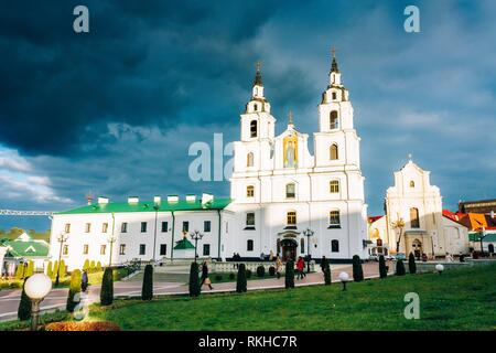 The Cathedral Of Holy Spirit In Minsk - Main Orthodox Church Of Belarus. Famous Landmark. - Stock Photo