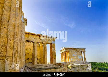 Temple of Athena Nike Propylaea Ancient Entrance Gateway Ruins Acropolis Athens Greece Construction ended in 432 BC Temple built 420 BC. Nike in - Stock Photo