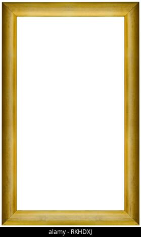 Simple Old Golden Picture Frame Cutout. - Stock Photo