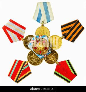 Collection of Russian (Soviet) Medals For Participation In The Second World War Isolated White Background. - Stock Photo
