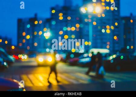Defocused Blue Boke Bokeh Urban City Background Effect. Design Backdrop. - Stock Photo