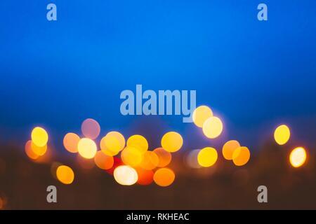 Defocused Blue Bokeh Urban City Background Effect. Design Backdrop. - Stock Photo
