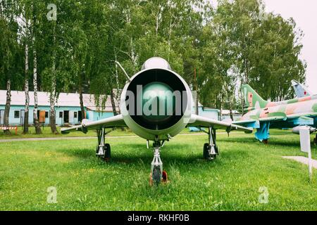 Old Russian Soviet Supersonic Military Plane Aircraft Fighter-bomber Stands At Aerodrome. - Stock Photo