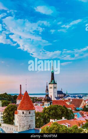 Panorama Panoramic Scenic View Landscape Old City Town Tallinn In Estonia. - Stock Photo