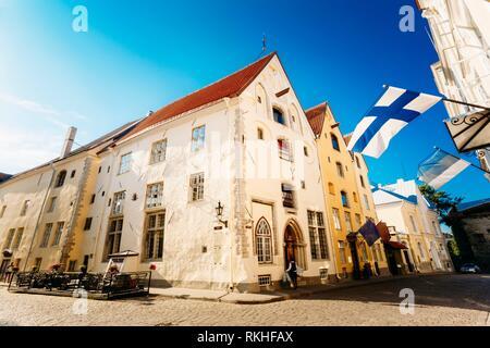 Streets And Old Town Architecture Estonian Capital, Tallinn, Estonia. - Stock Photo