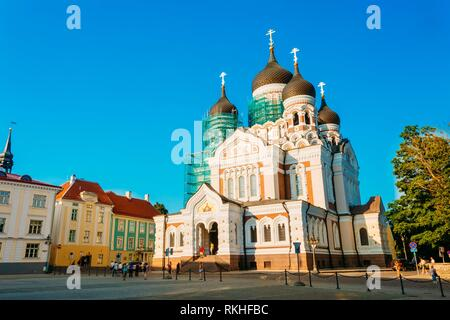 Alexander Nevsky Cathedral, An Orthodox Cathedral Church In The Tallinn Old Town, Estonia. Summer Time. - Stock Photo