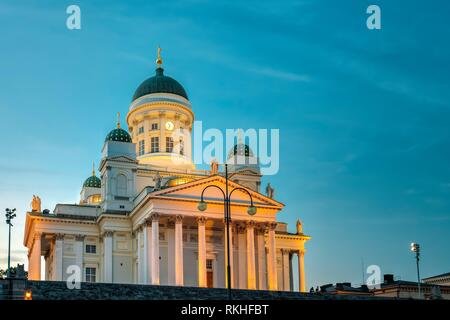 Senate Square With Lutheran Helsinki Cathedral At Summer Evening Night. Famous Landmark In Finnish Capital. Finland. - Stock Photo