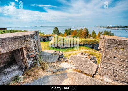 Historic Suomenlinna, Sveaborg maritime fortress In Helsinki, Finland. Sunny Day With Blue Sky. UNESCO World Heritage Site. - Stock Photo