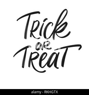 Trick or Treat challigraphy, isolated on white background. Halloween invitation and greeting. - Stock Photo
