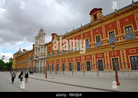 San Telmo Palace, baroque palace and seat of government, Seville. - Stock Photo