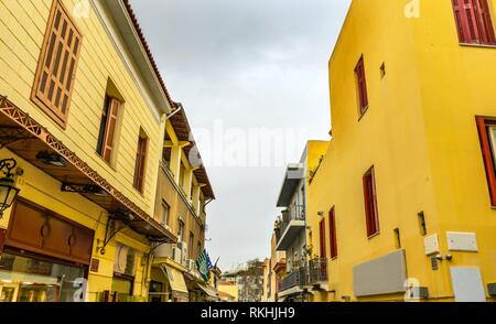 Plaka Ancient Greek Neighborhoods and Shopping Streets Next To Acropolis Athens Greece. - Stock Photo