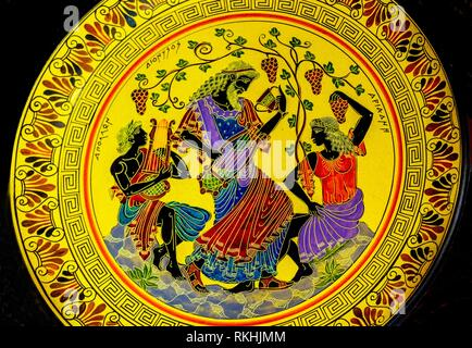 Greek God Dionysus Wine Music Ancient Replica Pottery Athens Greece. Dionysus is Greek God or Bacchus Roman God of wine, music and merrymaking, party. - Stock Photo