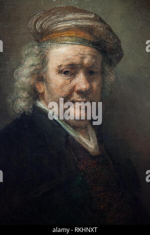 Self Portrait Rembrandt van Rijn,made in 1669,the year he died - Late Rembrandt exposition held in 2015 in Amsterdam - Stock Photo