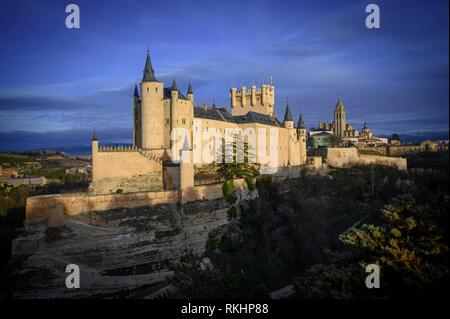 Alcazar de Segovia at sunset Spain