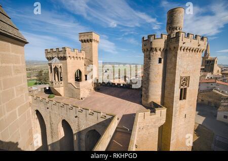 Castle of Olite, medieval village in Navarra, Spain. - Stock Photo