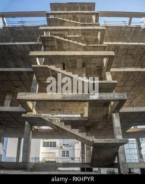 Exterior staircase structure of a new apartment building. Construction site. - Stock Photo