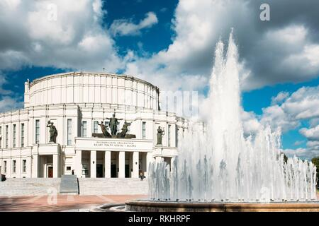 The National Academic Bolshoi Opera and Ballet Theatre of the Republic of Belarus In Minsk. - Stock Photo