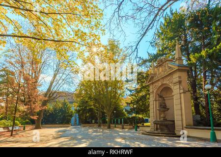 Park near Ball Game Hall in the Royal Garden in Prague, Czech Republic. - Stock Photo