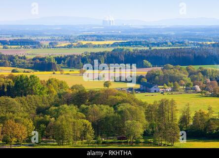 Czech Republic - Landscape and Nuclear Power Plant Temelin. - Stock Photo