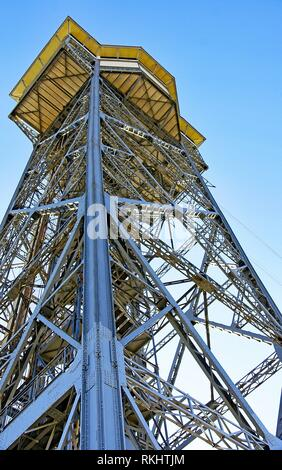 Cable car tower in Barceloneta, Barcelona, Catalunya, Spain. - Stock Photo