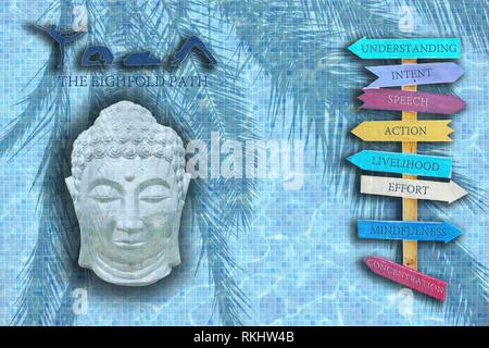 Yoga design word with figures in poses, sleeping Buddha head and eight wood signs with the eightfold path of Buddha on blue pool mosaic texture. - Stock Photo