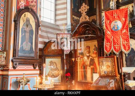 Vilnius, Lithuania: Close The Left Side Of Iconostasis In Christian Orthodox Church Of Saint Nicholas. - Stock Photo