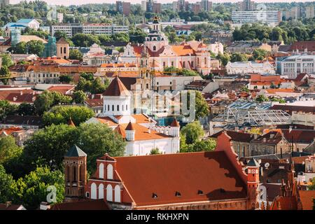 Vilnius, Lithuania. View Of Church Of St. Casimir, Church Of Blessed Virgin Mary Of Consolation, Cathedral Of Theotokos, Church Of St. Francis And - Stock Photo