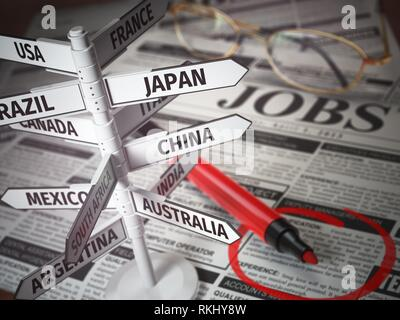 Work and travel immigration opportunity concept. Search for a job. Newspaper with jobs advertisement and signboard with names of countries. 3d - Stock Photo