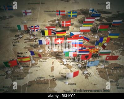 European Union map with flags of countries. Europe. 3d illustration. - Stock Photo