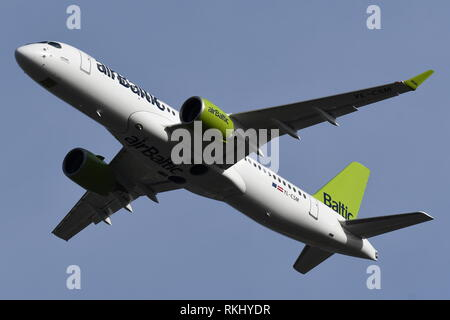 AIRBUS A220-300 (BOMBARDIER C SERIES)  YL-CSM OF AIR BALTIC. - Stock Photo