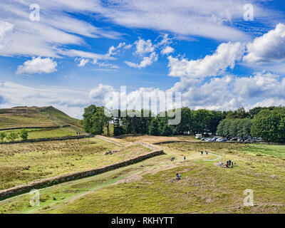 11 August 2018: Northumberland UK - Hadrian's Wall at Steel Rigg on a bright summer day. - Stock Photo