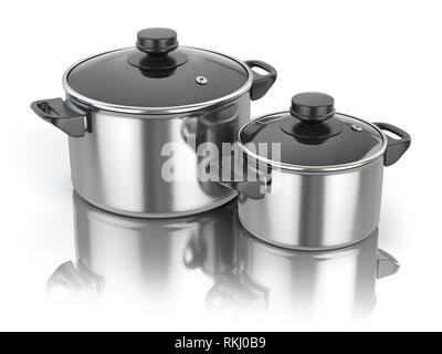 Stainless steel cooking pot isolated on white background. 3d illustration. - Stock Photo