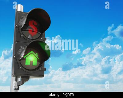 House and dollar symbols on the traffic light. Savings or real estate investment concept. 3d illustration. - Stock Photo